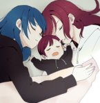 3girls baby black_hair blue_hair blush child closed_eyes drooling hood hoodie if_they_mated ips_cells long_hair love_live! love_live!_sunshine!! lying mother_and_daughter multiple_girls red_hair sakurauchi_riko sellel short_hair sleeping tsushima_yoshiko yuri