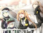 404_(girls_frontline) 4girls adjusting_hair armband bangs belt beret black_bow black_hat black_jacket black_legwear black_ribbon blunt_bangs bow brown_eyes brown_hair closed_mouth coat commentary_request crossed_bangs eyebrows_visible_through_hair facial_mark fingerless_gloves g11_(girls_frontline) girls_frontline gloves green_eyes green_hat green_jacket hair_ornament hairclip hat highres hk416_(girls_frontline) hood hood_down hooded_jacket jacket long_hair looking_to_the_side messy_hair multiple_girls one_eye_closed one_side_up open_clothes open_coat open_jacket open_mouth pantyhose parted_lips plaid plaid_skirt red_eyes ribbon scar scar_across_eye scarf_on_head shirt shoulder_cutout simple_background skirt smile teardrop ump45_(girls_frontline) ump9_(girls_frontline) veil13 white_hair white_shirt yellow_eyes