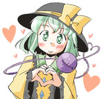 1girl arnest bad_id bad_pixiv_id blush eyeball frilled_sleeves frills green_eyes green_hair hat hat_ribbon heart heart_of_string komeiji_koishi long_sleeves ribbon short_hair sketch smile solo third_eye touhou white_background