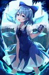 1girl :d bangs black_neckwear black_ribbon blue_bow blue_dress blue_eyes blue_hair bow breasts can chinese_commentary cirno commentary_request dress eyebrows_visible_through_hair feet_out_of_frame hair_between_eyes hair_bow hand_up highres holding holding_can ice ice_wings looking_at_viewer neck_ribbon open_mouth pinafore_dress puffy_short_sleeves puffy_sleeves ribbon shirt short_hair short_sleeves small_breasts smile snozaki solo standing touhou white_shirt wings