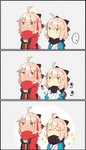 ... 2girls 3koma adjusting_scarf ahoge ahoge_wag beige_background bow breasts chibi cleavage cleavage_cutout closed_eyes comic commentary expressive_hair fate/grand_order fate_(series) hair_between_eyes hair_bow hair_ornament highres japanese_clothes long_sleeves multiple_girls okita_souji_(fate) okita_souji_alter_(fate) pekeko_(pepekekeko) pout scarf sleeveless sparkle spoken_ellipsis tan translation_request wide_sleeves yellow_eyes