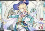 1boy androgynous artist_name belt blonde_hair blue_eyes cape character_name chevalier_d'eon_(fate/grand_order) contest_winner dated fate/grand_order fate_(series) highres holding holding_sword holding_weapon jingzhongyin long_hair low_ponytail marie_antoinette_(fate/grand_order) otoko_no_ko parted_lips pixiv_fate/grand_order_contest_1 saber_(weapon) scabbard sheath side_ponytail sword weapon wolfgang_amadeus_mozart_(fate/grand_order)