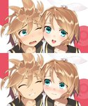 1boy 1girl :d blonde_hair blue_eyes blush bow cheek-to-cheek closed_eyes embarrassed goiro_(doukutsuwa) grin hair_bow hair_ornament hair_ribbon headset highres kagamine_len kagamine_rin open_mouth ribbon sailor_collar short_hair siblings smile twins vocaloid wavy_mouth