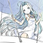 1girl :o ahoge blue_eyes blue_hair bracer breasts choker dress flower granblue_fantasy h2so4 hair_intakes holding holding_umbrella long_hair looking_at_viewer lyria_(granblue_fantasy) no_nose no_panties open_mouth sideboob sketch solo umbrella very_long_hair white_dress wings