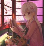 1girl abo_(kawatasyunnnosukesabu) animal bangs book cat cherry_blossoms commentary_request cup dango flower food frog hair_flower hair_ornament hanami highres holding holding_book indoors long_hair long_sleeves nail_polish open_book original pink_hoodie pink_nails red_eyes sakura_mochi shade sleeves_past_wrists solo spring_(season) squirrel tree umbrella wagashi white_hair window wrapper yawning yunomi