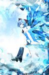 1girl :o bad_id bad_pixiv_id benio_(dontsugel) black_legwear blue blue_eyes blue_hair blush bow cirno dress hair_bow highres ice ice_wings kneehighs loafers looking_back open_mouth shoes short_hair sitting solo touhou tsurime wings