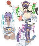 3girls :d alternate_costume animal_ears arm_up asarokuji ball bangs bath_yukata black_hair black_hairband blue_footwear blunt_bangs blush bouncing_breasts bouquet breast_slip breasts bunny_ears cleavage commentary_request cowboy_shot cropped_legs dark_skin elbow_gloves eyebrows_visible_through_hair facial_mark fate/grand_order fate_(series) flower gloves hair_between_eyes hair_censor hair_over_one_breast hairband hassan_of_serenity_(fate) hat highres holding holding_bouquet japanese_clothes kimono large_breasts long_hair long_sleeves looking_at_viewer medium_breasts multiple_girls nitocris_(fate/grand_order) open_mouth paddle panties purple_eyes purple_hair purple_hat short_hair sidelocks simple_background skirt_basket slippers slippers_removed small_breasts smile standing striped table_tennis_ball table_tennis_paddle thigh_gap translation_request two-tone_background underwear v-shaped_eyebrows vertical_stripes very_long_hair white_background white_kimono white_panties wide_sleeves xuanzang_(fate/grand_order) yukata