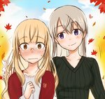 2girls artist_request autumn autumn_leaves blonde_hair blush breasts brown_eyes collarbone eila_ilmatar_juutilainen glasses hand_on_shoulder highres medium_breasts multiple_girls perrine_h_clostermann purple_eyes smile source_request strike_witches sweater white_hair world_witches_series yuri