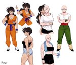 2girls abs bald belt black_eyes black_hair bottle cheek_kiss closed_eyes collarbone crossed_arms dougi dragon_ball dragon_ball_z full_body genderswap genderswap_(mtf) hand_on_hip highres holding kiss long_hair looking_at_viewer looking_away multiple_girls multiple_tails muscle muscular_female scar short_hair short_shorts shorts simple_background smile standing tail tank_top tenshinhan third_eye toned towel towel_around_neck v-shaped_eyebrows water_bottle white_background wristband yamcha yuri yuyurourou02