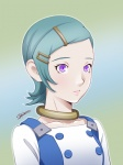 1girl ann_yosh aqua_hair bust collar eureka eureka_seven eureka_seven_(series) hair_ornament hairclip highres purple_eyes short_hair solo