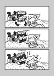 2girls 3koma :3 animal_ears biting blush_stickers bow bowtie closed_eyes comic common_raccoon_(kemono_friends) ear_biting elbow_gloves fang fennec_(kemono_friends) fox_ears fur_collar gloves greyscale highres kemono_friends kotobuki_(tiny_life) looking_at_another lying monochrome multiple_girls on_back outdoors pleated_skirt puffy_short_sleeves puffy_sleeves raccoon_ears raccoon_tail short_hair short_sleeves silent_comic skirt sleeping smile tail translation_request vest zzz