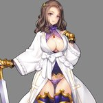 1girl ass_visible_through_thighs bangs breasts bright_pupils brown_hair cleavage cleavage_cutout commentary_request cowboy_shot eiyuu_senki greaves grey_background hair_ornament highres jewelry large_breasts long_hair looking_at_viewer necklace ooyari_ashito parted_bangs parted_lips purple_eyes robe simple_background solo string_panties sword thighhighs weapon wrist_cuffs