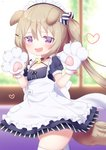 1girl :d animal_ears apron azur_lane bangs bell bell_choker black_choker black_dress blurry blurry_background blush brown_hair candy_hair_ornament candy_wrapper cat_day choker commentary_request crescent crescent_hair_ornament depth_of_field dog_ears dog_girl dog_tail dress eyebrows_visible_through_hair fang food_themed_hair_ornament frilled_apron frills gloves hair_between_eyes hair_ornament hairclip heart highres jingle_bell koko_ne_(user_fpm6842) long_hair looking_at_viewer maid maid_headdress nagatsuki_(azur_lane) nagatsuki_(dangerous_kitty_maid?)_(azur_lane) open_mouth paw_gloves paws puffy_short_sleeves puffy_sleeves purple_eyes short_sleeves side_ponytail skindentation smile solo tail thighhighs very_long_hair white_apron white_gloves white_legwear