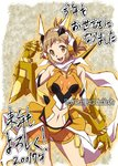 1girl bodysuit breasts brown_hair commentary_request gloves hair_ornament hairclip headgear headphones link_(aa30) looking_at_viewer navel open_mouth orange_eyes senki_zesshou_symphogear short_hair smile solo tachibana_hibiki_(symphogear)