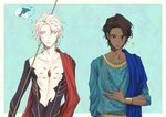 2boys arjuna_(fate/grand_order) black_eyes black_hair blue_background blue_eyes blue_shirt bodysuit bracelet cape curry_x_rice dolphin fate/grand_order fate_(series) gem indian_clothes jewelry karna_(fate) looking_down male_focus multiple_boys red_cape shirt thought_bubble white_skin
