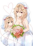 2girls bare_arms bare_shoulders blonde_hair blush bouquet braid breasts bridal_veil bride closed_mouth commentary_request dress flower gloves grey_eyes hair_flaps hair_ornament hair_ribbon hairclip heart highres if_they_mated kantai_collection long_hair looking_at_viewer married mother_and_daughter multiple_girls red_eyes remodel_(kantai_collection) ribbon saku_(kudrove) single_braid smile strapless strapless_dress veil wedding_dress white_background yuudachi_(kantai_collection)