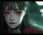 1girl blood blood_on_face brown_eyes brown_hair commentary cuts face highres injury letterboxed lips long_hair looking_at_viewer nose original portrait shal.e simple_background solo work_in_progress