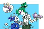 1girl 2boys >_< anger_vein angry artist_name blue_eyes blue_hair closed_eyes cup domino_mask donut_(zoza) dress fangs flower fume glasses green_hair hat hat_flower head_bump headwear_removed height_difference holding inkling jumping layered_clothing lollipop_(zoza) long_hair long_sleeves looking_at_another maid maid_headdress mask multiple_boys octobrush_(splatoon) partially_colored pointy_ears samurai_(zoza) short_hair short_over_long_sleeves short_sleeves shouting signature speech_bubble splatoon splatoon_1 standing star teacup teapot tentacle_hair tray upper_body white_hair zoza