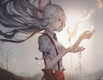 1girl arm_belt artist_name baggy_pants bare_tree blouse blurry bow closed_mouth collared_shirt depth_of_field facing_away fire floating_hair fujiwara_no_mokou grey_sky hair_bow highres huge_filesize long_hair ofuda pants red_eyes red_pants shirt silver_hair solo sparks suspenders torn_clothes torn_sleeves touhou tree unity_(ekvmsp02) very_long_hair white_blouse white_bow white_shirt