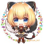 1girl :d bangs black_bow black_footwear black_gloves black_shirt black_skirt black_wings blonde_hair blue_eyes blush bow candy chibi commentary_request eyebrows_visible_through_hair fang feathered_wings food full_body gloves hair_between_eyes hair_bow lollipop maaru_(shironeko_project) mismatched_gloves mismatched_wings open_mouth puffy_short_sleeves puffy_sleeves red_bow red_legwear shironeko_project shirt shoes short_sleeves skirt smile solo standing striped striped_legwear swirl_lollipop thighhighs twitter_username v-shaped_eyebrows vertical-striped_legwear vertical_stripes white_background white_gloves white_wings wings yukiyuki_441
