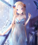 1girl abigail_williams_(fate/grand_order) babydoll bangs bare_shoulders black_bow blonde_hair blue_eyes blush bow breasts bug butterfly cleavage collarbone commentary covered_navel fate/grand_order fate_(series) forehead hair_bow highres insect long_hair looking_at_viewer open_mouth orange_bow parted_bangs parted_lips polka_dot polka_dot_bow sanka_tan see-through small_breasts smile snowing solo thighs very_long_hair window