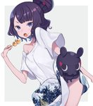 1girl alternate_costume bangs bare_arms bare_shoulders black_hair blue_eyes blush breasts commentary_request dango dot_nose eyebrows_visible_through_hair fate/grand_order fate_(series) fine_art_parody food hair_ornament hairclip holding holding_food kanagawa_okinami_ura katsushika_hokusai_(fate/grand_order) looking_at_viewer medium_breasts octopus parody shirt short_hair simple_background solo tokitarou_(fate/grand_order) totatokeke wagashi white_shirt