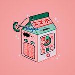 artist_name cellphone commentary food fruit heart keypad meyoco milk_carton no_humans number original phone pink_background simple_background smartphone sparkle watermelon