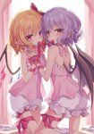 2girls bangs bat_wings beni_kurage black_wings blonde_hair bloomers bow commentary_request crystal eyebrows_visible_through_hair flandre_scarlet hair_bow highres incest interlocked_fingers kneeling lavender_hair leg_ribbon looking_at_viewer mouth_hold multiple_girls no_hat no_headwear pink_bow pointy_ears red_bow red_eyes red_ribbon remilia_scarlet ribbon short_hair siblings sisters touhou underwear wings yuri