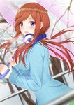 1girl :d bangs blue_eyes blue_sweater blurry blurry_background blurry_foreground blush breasts breath brown_hair cherry_blossoms chinese_commentary commentary_request depth_of_field dutch_angle eyebrows_visible_through_hair floating_hair from_side go-toubun_no_hanayome headphones headphones_around_neck highres holding holding_umbrella long_hair long_sleeves looking_at_viewer medium_breasts nakano_miku open_mouth outdoors pink_umbrella rko_(a470350510) sidelocks smile snowing solo sweater transparent transparent_umbrella tree umbrella upper_body