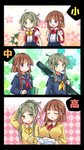 2girls 3koma age_progression alternate_costume arm_up backpack bag bangs black_serafuku blunt_bangs bow bowtie breasts brown_hair closed_eyes collared_shirt comic commentary_request contemporary dress_shirt floral_print green_eyes green_skirt hands_up heart highres large_breasts multiple_girls myouga_(plant) neckerchief nishida_satono open_mouth pleated_skirt pote_(ptkan) purple_eyes randoseru red_neckwear school_uniform serafuku shirt short_hair_with_long_locks sidelocks skirt smile suspender_skirt suspenders sweatdrop sweater teireida_mai touhou translated weapon_bag white_shirt wing_collar yellow_neckwear younger