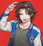 1boy baseball_cap black_hair black_shirt blue_eyes haraodori_sp hat hat_tip heterochromia hypnosis_mic jacket jewelry letterman_jacket male_focus mole mole_under_mouth open_mouth red_background ring shirt simple_background smile tongue tongue_out yamada_jirou yellow_eyes