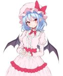 1girl bat_wings blue_hair blush bow breasts commentary cowboy_shot dress eyebrows_visible_through_hair frilled_dress frills hat hat_bow head_tilt highres juliet_sleeves junior27016 long_sleeves looking_at_viewer medium_breasts mob_cap neck_bow own_hands_together pink_dress pink_hat pointy_ears puffy_sleeves red_bow red_eyes red_neckwear red_sash remilia_scarlet short_hair simple_background smile solo standing touhou white_background wings