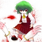 1girl ascot blood green_hair highres kazami_yuuka kyubey mahou_shoujo_madoka_magica plaid plaid_skirt plaid_vest red_eyes short_hair skirt skirt_set stepped_on touhou vest yume_shokunin