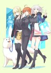 3girls ahoge artoria_pendragon_(all) bag black_dress black_jacket black_ribbon blonde_hair blue_jacket blush boots casual cavall_the_2nd coat coffee_cup cup disposable_cup dog dress drinking fate/grand_order fate_(series) food formal fujimaru_ritsuka_(female) full_body fur-trimmed_coat fur-trimmed_jacket fur-trimmed_sleeves fur_collar fur_trim girl_sandwich halyou hamburger holding holding_cup jacket jeanne_d'arc_(alter)_(fate) jeanne_d'arc_(fate)_(all) jewelry knee_boots leash low_ponytail multiple_girls necklace necktie open_clothes open_coat open_jacket open_mouth orange_hair pant_suit pants paper_bag ponytail ribbon saber_alter sandwiched shopping_bag short_dress short_hair shorts smile suit thigh_boots thighhighs wicked_dragon_witch_ver._shinjuku_1999 yellow_eyes zettai_ryouiki
