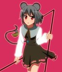 1girl animal_ears anime_coloring basket blush capelet dowsing_rod dress grey_hair jewelry long_sleeves looking_at_viewer mikomiko_(mikomikosu) mouse mouse_ears mouse_tail nazrin pendant red_eyes shirt short_hair simple_background skirt skirt_set solo tail touhou white_shirt