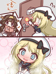 2girls :3 ahoge beret black_bow black_sailor_collar black_shirt blonde_hair blue_eyes blush bow brown_hair closed_mouth comic commentary_request crying crying_with_eyes_open door dress flying_sweatdrops gloves hat have_to_pee headgear indoors jervis_(kantai_collection) kantai_collection komakoma_(magicaltale) kongou_(kantai_collection) long_hair multiple_girls nontraditional_miko nose_blush open_mouth purple_eyes reading sailor_collar shirt tears toilet_use translated trembling very_long_hair wavy_mouth white_dress white_gloves white_hat