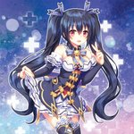 1girl :d bare_shoulders black_hair breasts choker cleavage detached_collar detached_sleeves frilled_skirt frills garter_straps hair_between_eyes hair_ribbon leaning_forward long_hair looking_at_viewer medium_breasts narinn neptune_(series) noire open_mouth red_eyes ribbon ribbon-trimmed_skirt ribbon_choker ribbon_trim skirt skirt_hold smile solo thighhighs twintails very_long_hair white_skirt