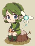 1girl belt belt_buckle blue_eyes boots buckle chibi closed_mouth eyebrows eyebrows_visible_through_hair facing_away fairy fairy_wings full_body green_belt green_footwear green_hair green_hairband green_shirt hairband highres instrument kokiri long_sleeves looking_at_viewer nazonazo_(nazonazot) ocarina pointy_ears saria shirt short_hair sitting smile solo the_legend_of_zelda the_legend_of_zelda:_ocarina_of_time tree_stump undershirt unitard wings