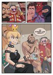 1girl 3koma 6+boys artist_name ayyk92 bangs bare_shoulders black_dress black_nails blonde_hair blue_eyes blush bowser bracelet character_request chest_hair collar comic commentary crown cup demon_horns dr._eggman dress earrings english eyeshadow facial_hair fang genderswap genderswap_(mtf) glasses goggles goggles_on_head highres horns jewelry looking_at_another m_bison makeup multiple_boys muscle mustache nail_polish new_super_mario_bros._u_deluxe nintendo nose_blush ponytail red_skin ring sitting smile sonic_the_hedgehog spiked_bracelet spiked_collar spikes street_fighter street_fighter_ii_(series) super_crown sweat sweatdrop tea teacup towel turtle_shell wreck-it_ralph wreck-it_ralph_(character) zangief