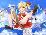 1girl :d artist_request ass bare_legs blonde_hair blue_sky broom broom_riding cloud cloudy_sky commentary_request crystal day fang flandre_scarlet flying full_body hat hat_ribbon highres medium_hair mini-hakkero mob_cap open_mouth panties pantyshot partial_commentary pink_panties puffy_short_sleeves puffy_sleeves red_eyes red_ribbon red_skirt red_vest ribbon role_reversal shoes short_sleeves side_ponytail skirt sky smile solo theft thighs touhou underwear upskirt vampire vest wings