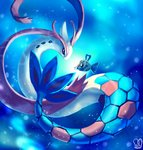 blue_background commentary english_commentary eye_contact feebas fish from_side gen_3_pokemon highres looking_at_another milotic no_humans pokemon pokemon_(creature) sa-dui signature underwater valentine