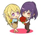 2girls :d bang_dream! bangs behind_back black_footwear blonde_hair blue_shirt bouquet brown_pants brown_skirt brown_suit brown_vest chibi collared_shirt commentary_request flower full_body hair_ribbon half_updo holding holding_bouquet holding_flower long_sleeves looking_at_another multiple_girls necktie open_mouth pants ponytail purple_eyes purple_hair red_eyes red_flower red_neckwear red_rose ribbon rose seta_kaoru shirasagi_chisato shirt sidelocks simple_background skirt smile standing tozaki_(r_sailing) vest white_background white_ribbon white_shirt yellow_flower yellow_rose yuri