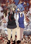 2girls adapted_costume arm_up arudente autumn_leaves blonde_hair blue_bow blue_hair blush_stickers bow cirno collared_shirt commentary_request dress earrings eye_contact hair_bow hair_ribbon holding holding_hands holding_paper interlocked_fingers jewelry leaf long_sleeves looking_at_another looking_to_the_side multiple_girls necktie open_mouth outdoors panties pantyshot pantyshot_(standing) paper pinafore_dress pleated_skirt pout red_neckwear ribbon rumia shirt short_hair skirt sleeves_past_wrists socks standing touhou tree underwear white_panties yuri