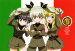 3girls anchovy armband belt black_hair black_shirt blonde_hair braid brown_eyes carpaccio copyright_name cowboy_shot crossed_arms dress_shirt drill_hair emblem flag_background food girls_und_panzer green_eyes green_hair grin hair_ribbon holding_another's_hair italian_flag jacket knife long_hair long_sleeves miniskirt multiple_girls necktie official_art open_mouth pants pencil_skirt pepperoni_(girls_und_panzer) pizza red_eyes ribbon scan shirt short_hair side_braid skirt smile twin_drills twintails w waving