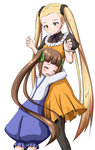 2girls 3: :d ^_^ ame. aoki_hagane_no_arpeggio blonde_hair brown_hair closed_eyes dress green_eyes haruna_(aoki_hagane_no_arpeggio) hug long_hair multiple_girls open_mouth osakabe_makie overalls pantyhose puffy_pants smile twintails very_long_hair