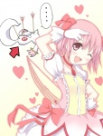 ... 1girl :d arrow bow_(weapon) darkside directional_arrow gloves kaname_madoka kyubey magical_girl mahou_shoujo_madoka_magica one_eye_closed open_mouth pink_eyes pink_hair salute short_hair smile weapon