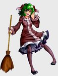 1girl absurdres bamboo_broom broom commentary_request dress full_body green_eyes green_hair highres kasodani_kyouko open_mouth pantyhose pink_dress shouting solo touhou zauberkugel635