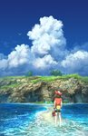 1girl bag bandana barefoot bike_shorts bird blue_sky brown_hair cloud day fanny_pack fingerless_gloves flower from_behind full_body gloves grass haruka_(pokemon) holding kneepits mirage_island ocean outdoors pippi_(pixiv_1922055) poke_ball_theme pokemon pokemon_(creature) pokemon_(game) pokemon_rse red_bandana red_flower red_footwear red_shirt sand scenery shirt shoes shoes_removed short_sleeves sky solo_focus standing tree wading water white_gloves wynaut