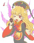 1girl bangs black_dress blonde_hair blush_stickers chinese_clothes commentary_request dress eighth_note fengguan gyate_gyate holding junko_(touhou) long_hair long_sleeves microphone musical_note one_eye_closed parody red_eyes sameya simple_background solo spoken_musical_note style_parody tabard touhou white_background wide_sleeves