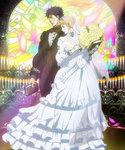 1boy 1girl blonde_hair blue_hair book bouquet bow bowtie bridal_veil candle dress erina_pendleton flower frilled_dress frills gloves highres holding holding_book husband_and_wife jojo_no_kimyou_na_bouken jonathan_joestar light phantom_blood profile screencap stained_glass stitched tuxedo veil vest wedding_dress white_dress white_gloves